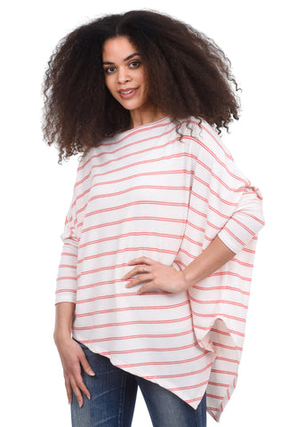 Stark x Striped Asymmetrical Soft Top, Cream/Coral
