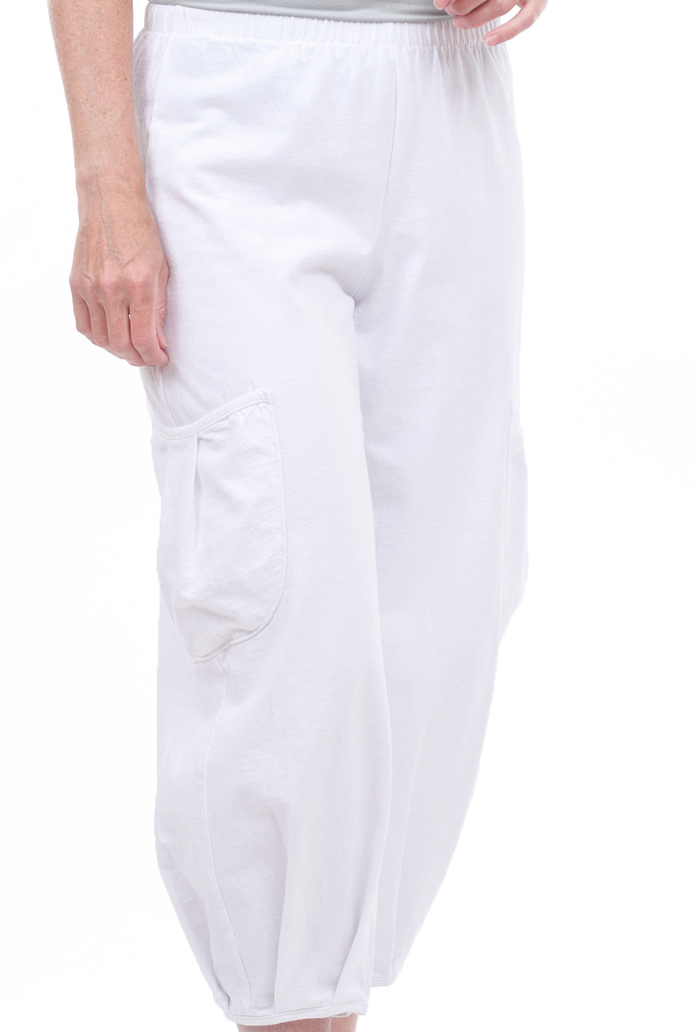 Fenini Side Pocket Cropped Pants, White