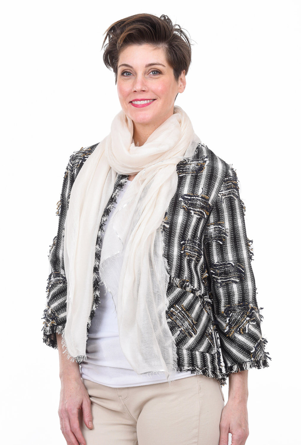 Blue Pacific Cashmere Glitter Scarf, White One Size White