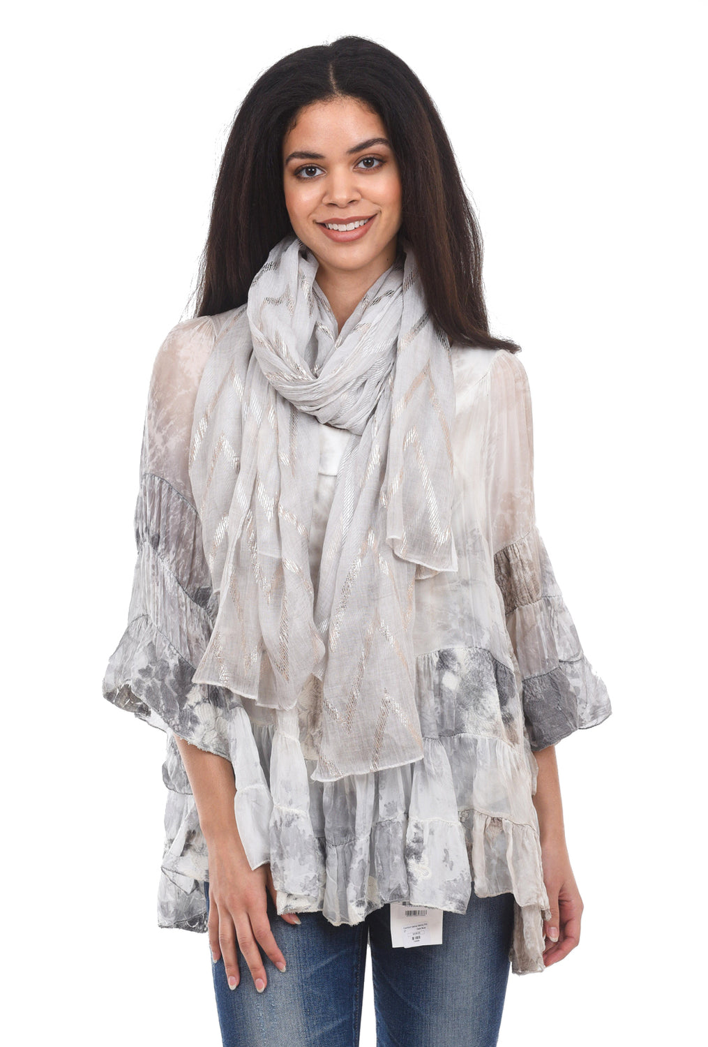 Paisley Road Lurex Accents Scarves, Light Gray