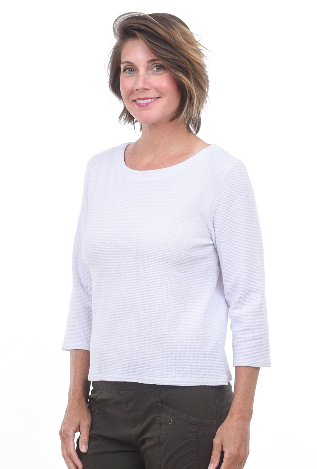 Lilla P Thermal Boatneck Top, White