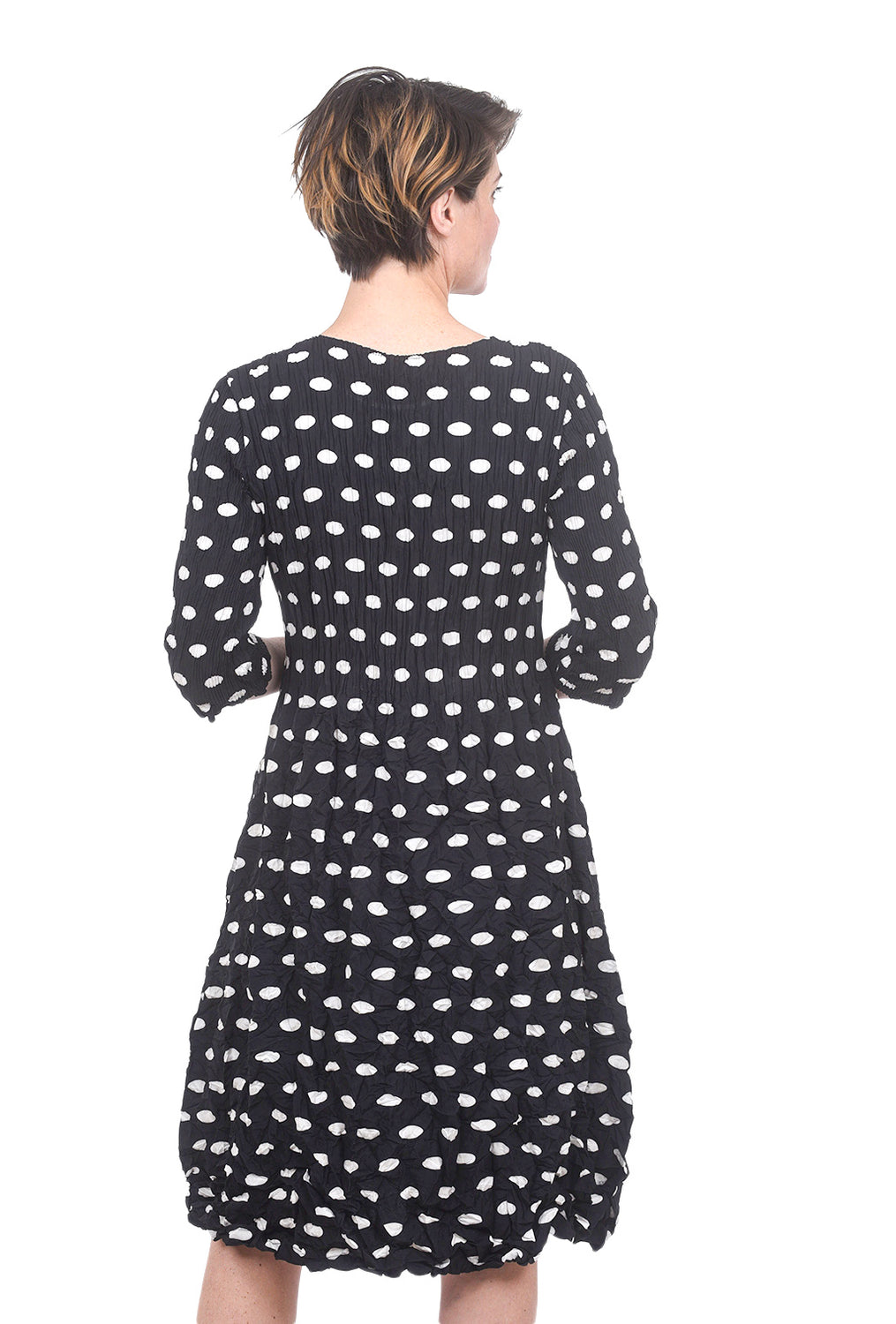 Alquema 3/4-Sleeve Smash Pocket Dress, Black Dot