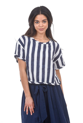 Voloshin Leslie Breton Stripe Top, Navy Blue