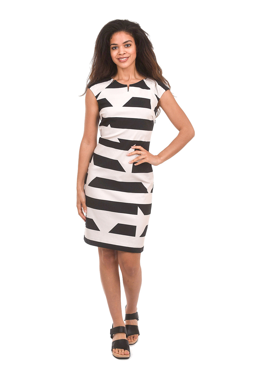 Bitte Kai Rand Disrupted Stripe Dress, Cream/Black