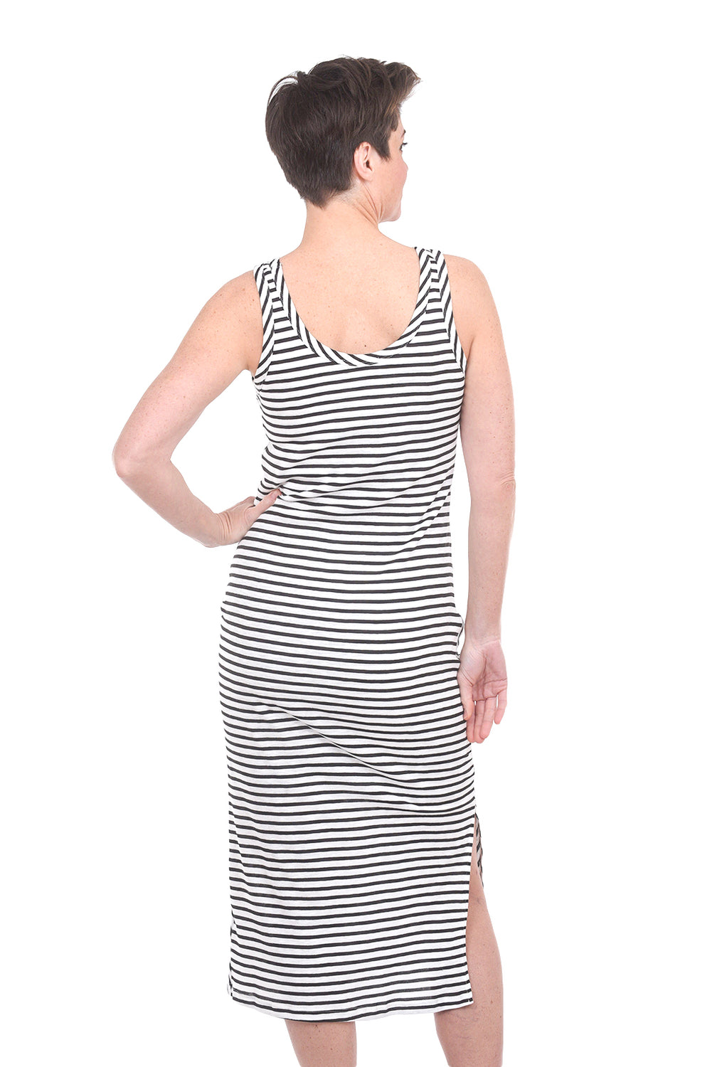 COA Side Cinched Tank Dress, White/Black Stripe