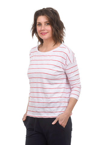 Lilla P Drop-Shoulder Boatneck Tee, Ginger Stripe