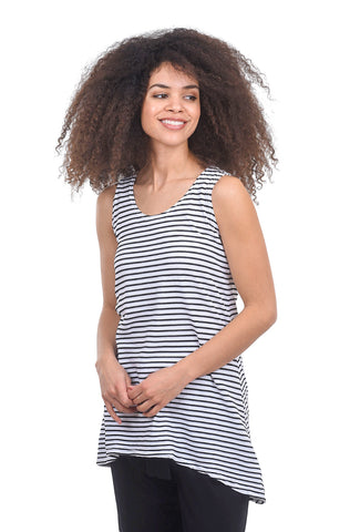 Cut Loose S/L Stripe Trapeze Top, White/Black