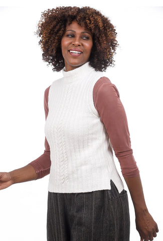 Margaret O'Leary Knits MOL Mock Neck Sweater, Snow