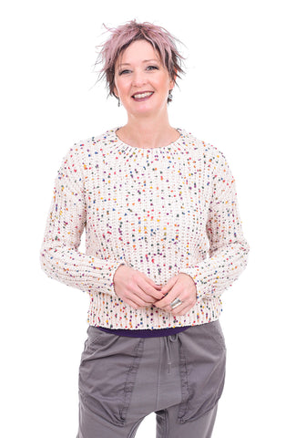 Hem & Thread Mini Confetti Shrunken Sweater, Cream
