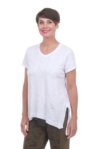 S/S Asym Slouchy Tunic, White