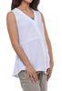 Cut Loose Linen Combo Tank, White