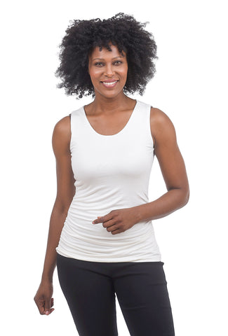 Kinross Cashmere Jersey Ruched Tank, Ivory