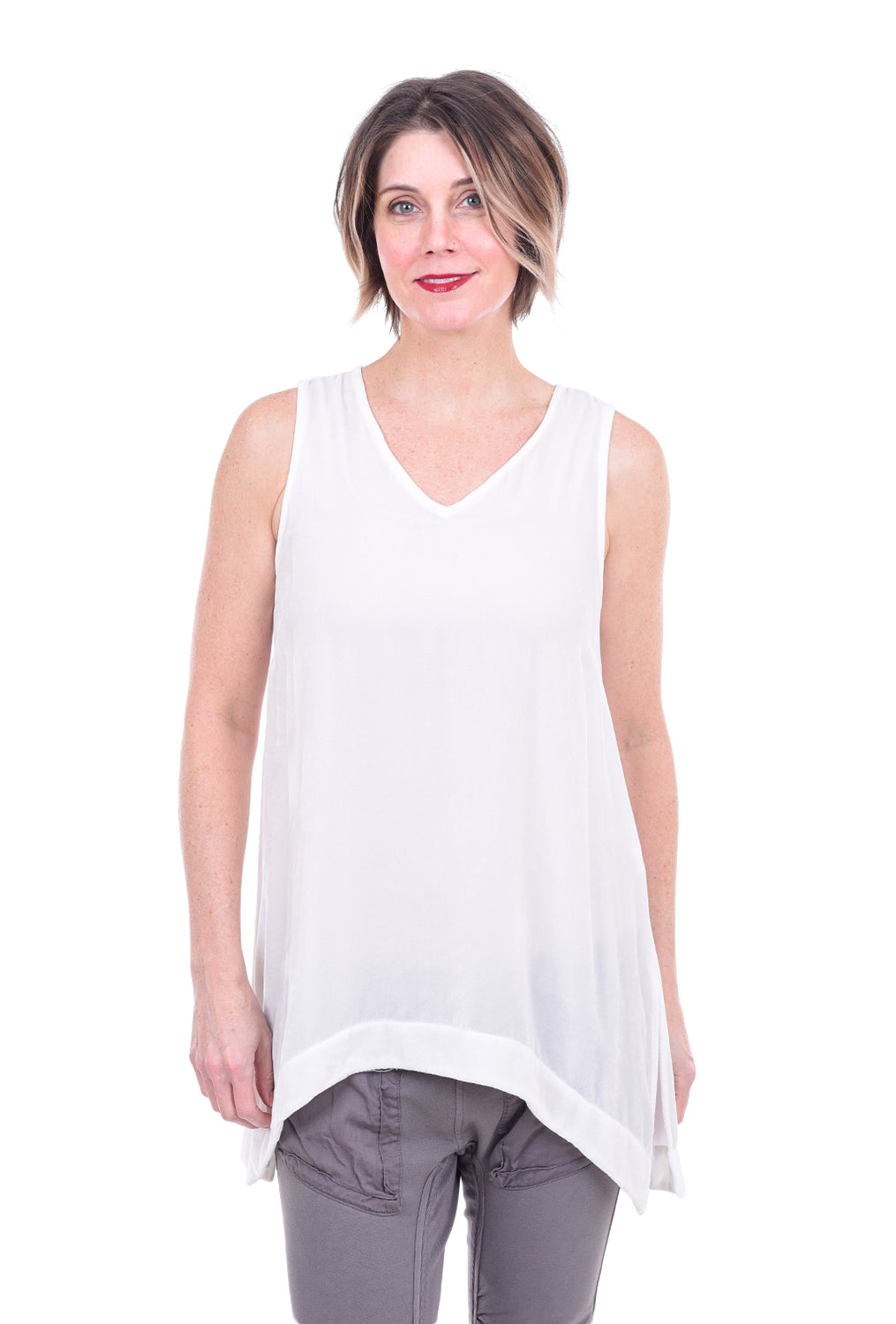 Cut Loose Velvet Flowy Tank, Off-White