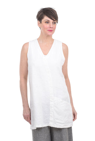 Cut Loose Linen One-Pocket Tunic, Laundered White