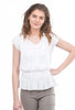 Current Air Jackie Silky Smocked Top, White