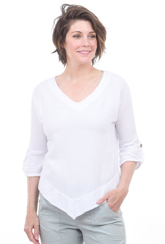 Cottonways Dorie Cotton Gauze Top, White