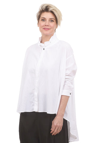 Moyuru Mandarin High-Low Blouse, White