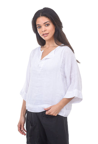 Stark x Boxy Placket Top, White