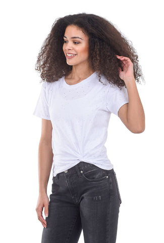 Eyelet Side Knot Tee, White