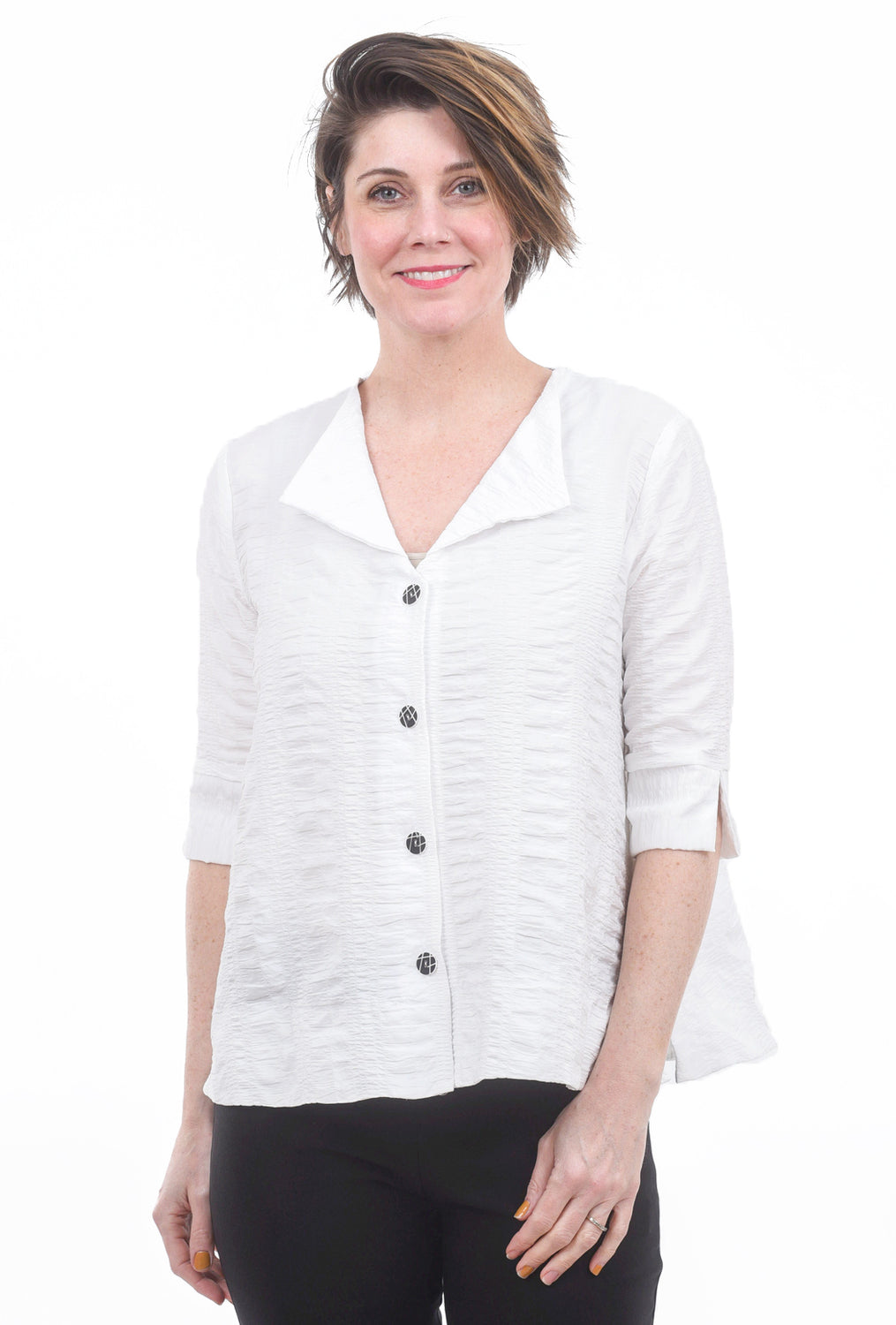 Niche Crinkle Splash Blouse, White