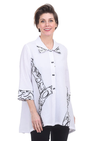 Moonlight Calligraphy Detail Blouse, White