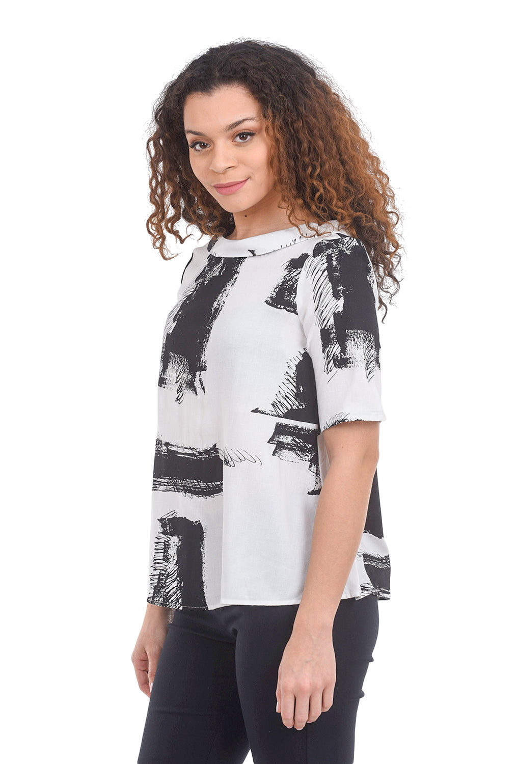 Niche Ink Blot Surface Top, Black/White