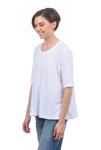 Wilt Elbow-Sleeve Trapeze Tee, White