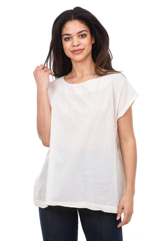Uzi NYC Uzi Tunic Top, Cream One Size Cream