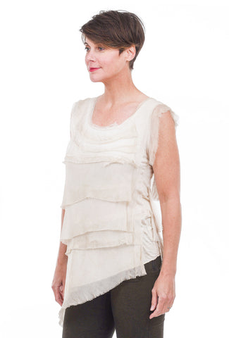 Oro Bonito Tattered Silk Tiers Top, Beige One Size Beige