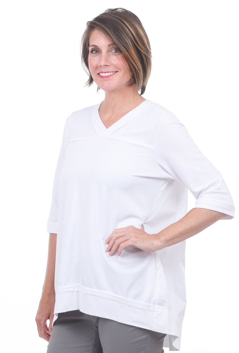 Planet Pleat Back Top, White