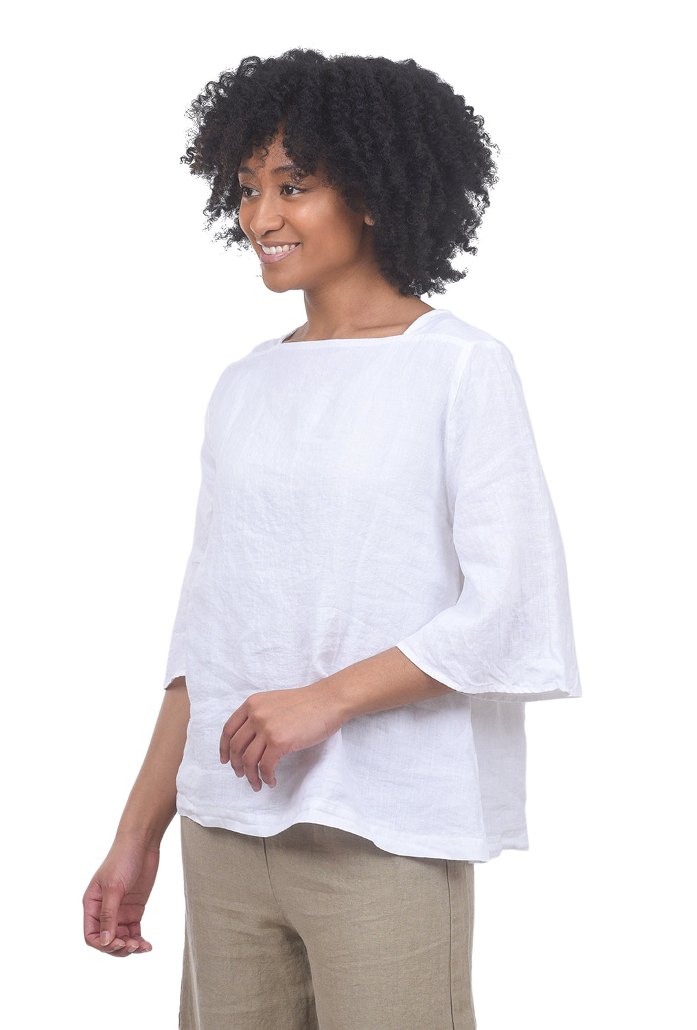 Cut Loose Hanky Linen Flare Top, White