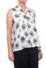 Dressori Plunge Blouse, White/Black