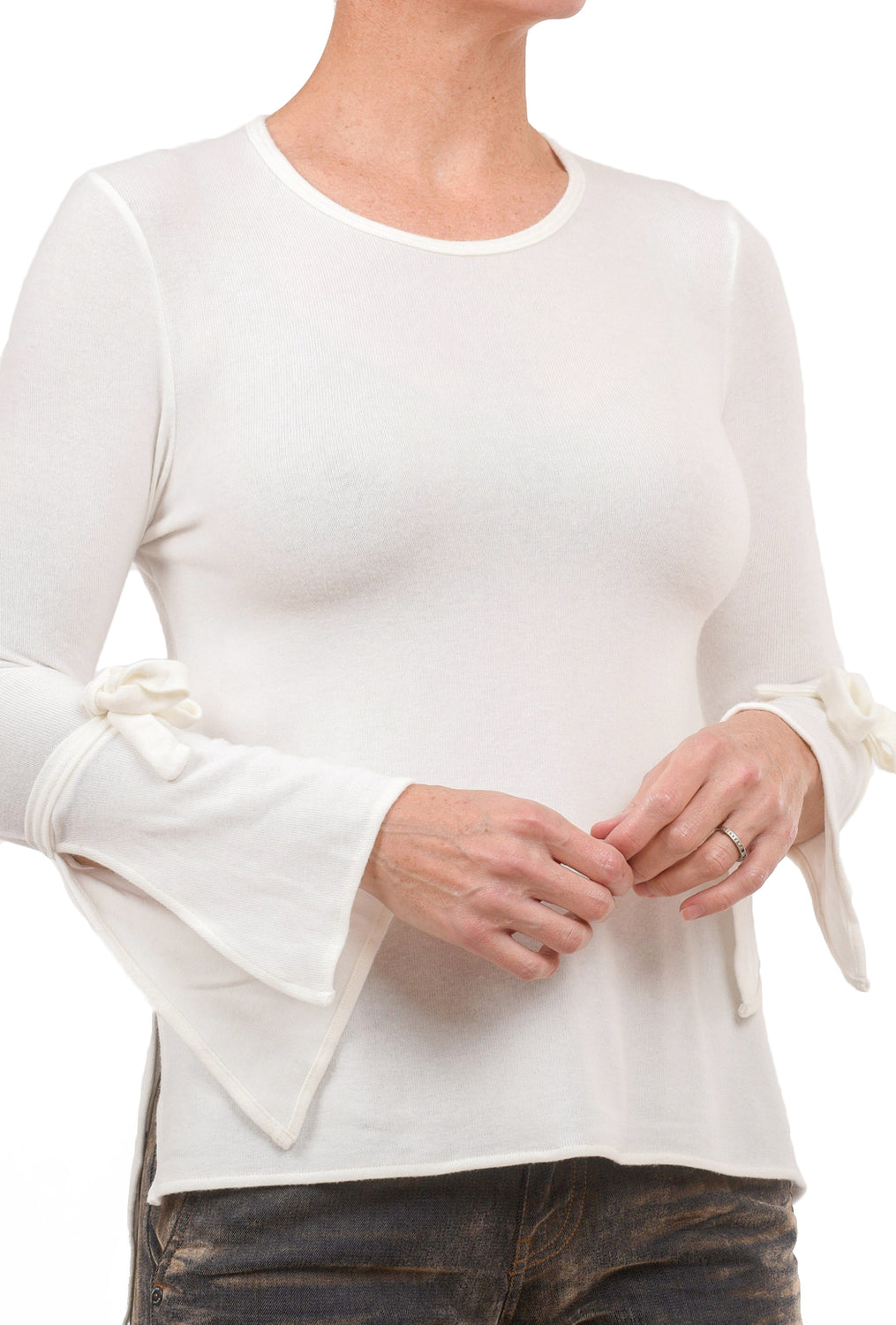 Stark x Tie-Sleeve Top, Natural