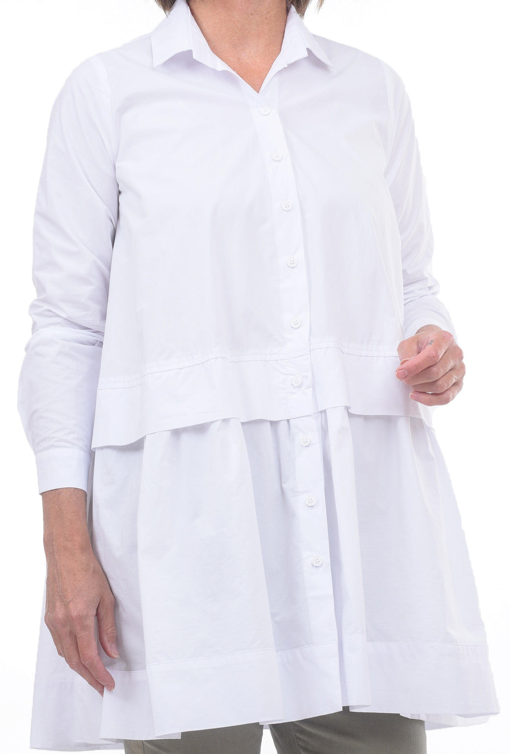 Alembika Bika Crisp Layered Shirt, White