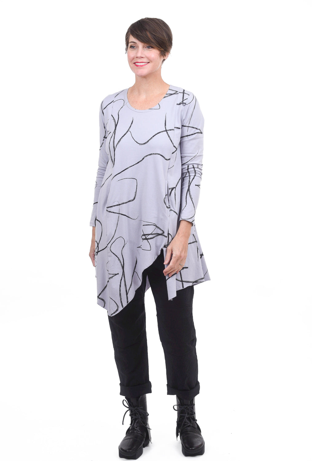 Snapdragon & Twig Gracie Jersey Tunic, Cloud Ribbon