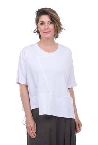 Crea Concept Woven Trim Jersey Top, White