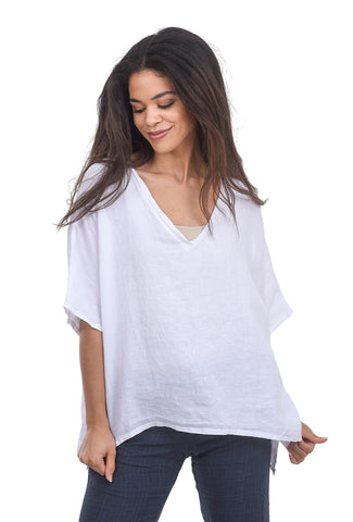 Cut Loose Oversize V-Neck Linen Top, White One Size White