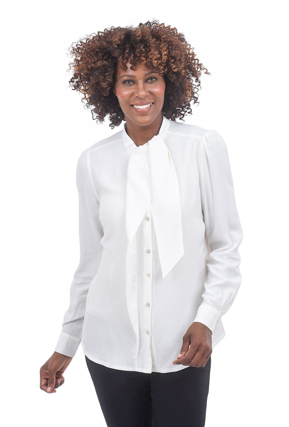 Summum Viscose Scarf Blouse, Shell White