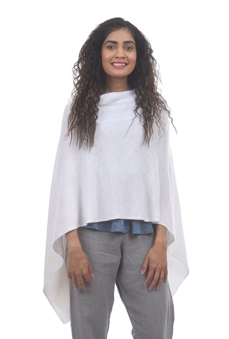 In Cashmere Cashmere Ruana, Winter White One Size White