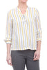 Hem & Thread Laces-Placket Stripe Blouse, Cream
