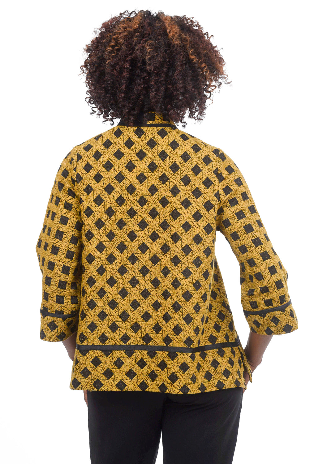 Moonlight Diamond Check Jacket, Mustard