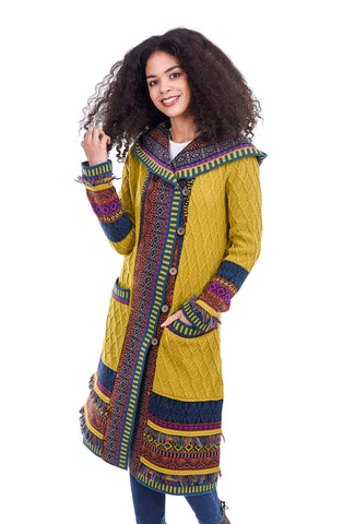 Ivko Women Once Upon a Sweatercoat, Peridot Yellow