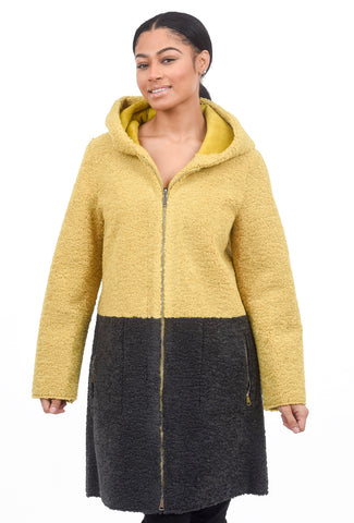 Patrizia Luca Reversible Colorblock Coat, Yellow