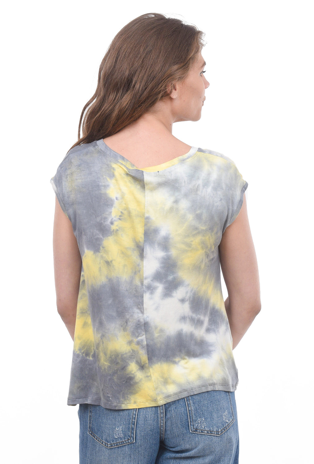 Coin1804 Tie-Dye Twist-Front Top, Yellow Multi