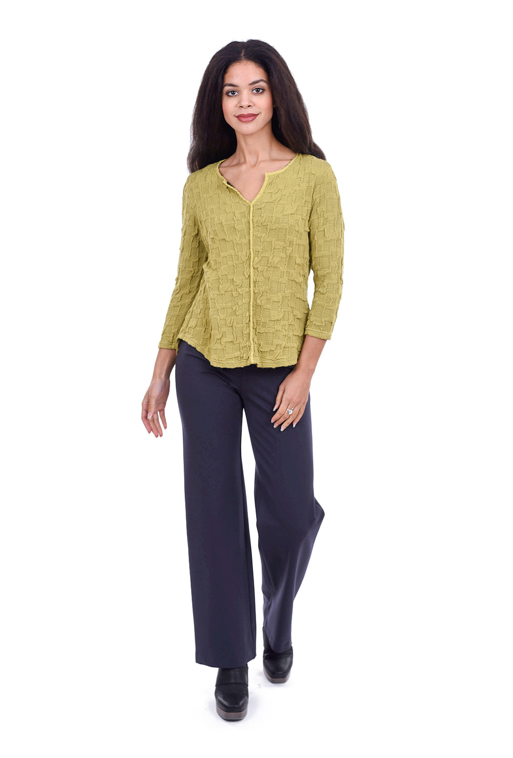 Cut Loose Pucker Split Neck Sweater, New Leaf Green