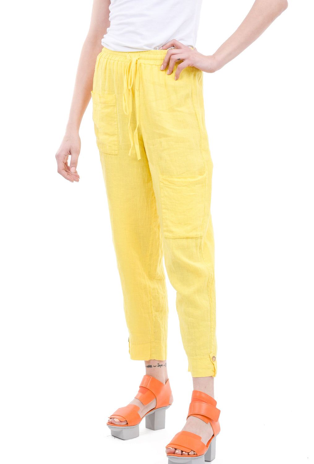 Luukaa Ruby Linen Pants, Yellow
