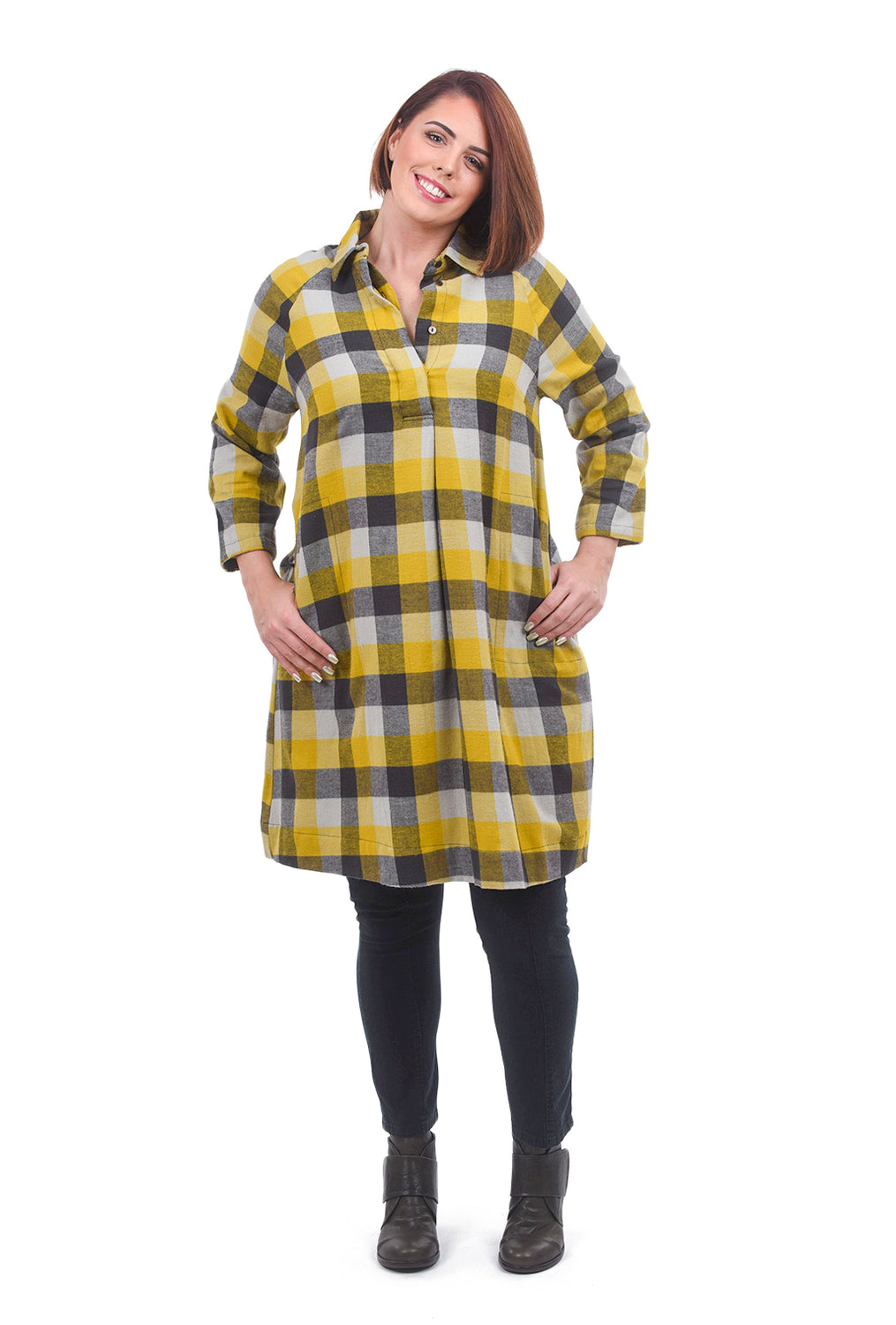 Two Danes Eleonora Flannel Dress, Curry/Rain