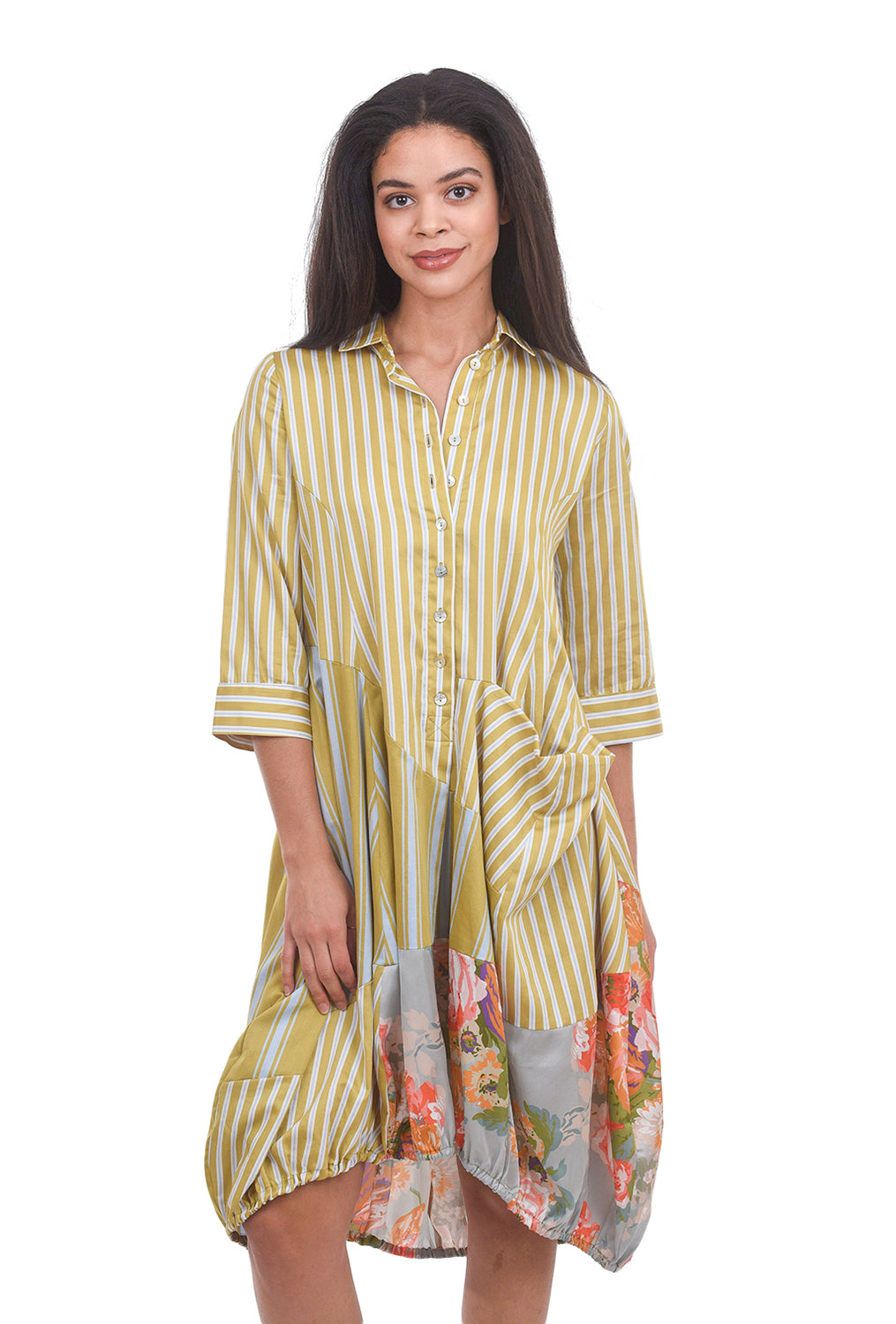 Alembika Floral & Stripes Shirtdress, Amber Yellow