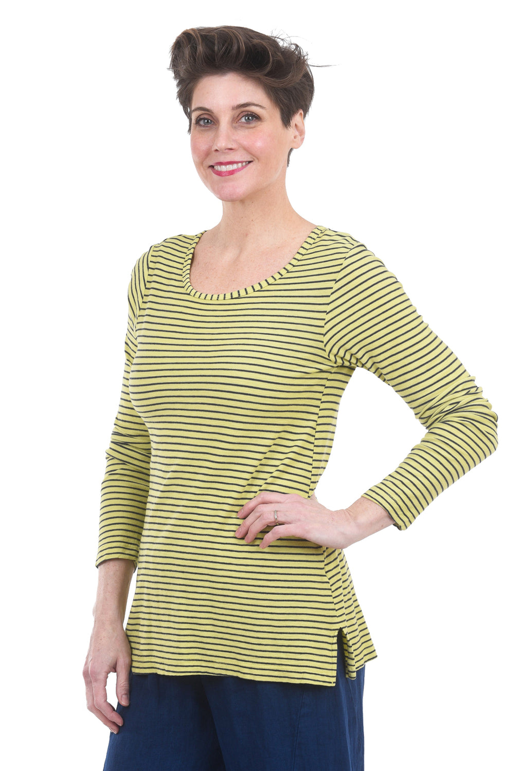 Fenini Jaunty Stripes T-Shirt, Lime Green