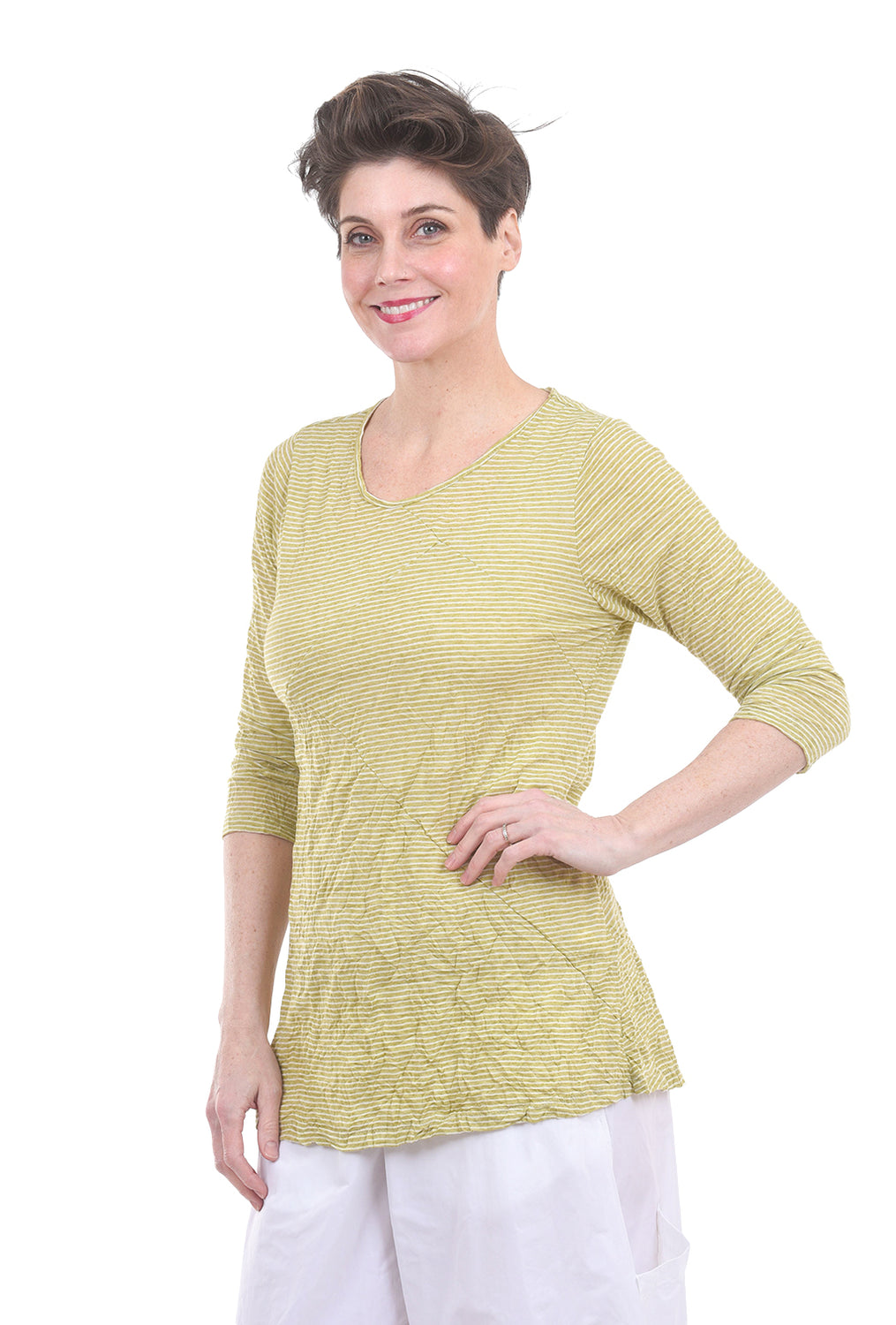 Comfy USA Crinkle Pandora Top, Lime Cactus Stripe